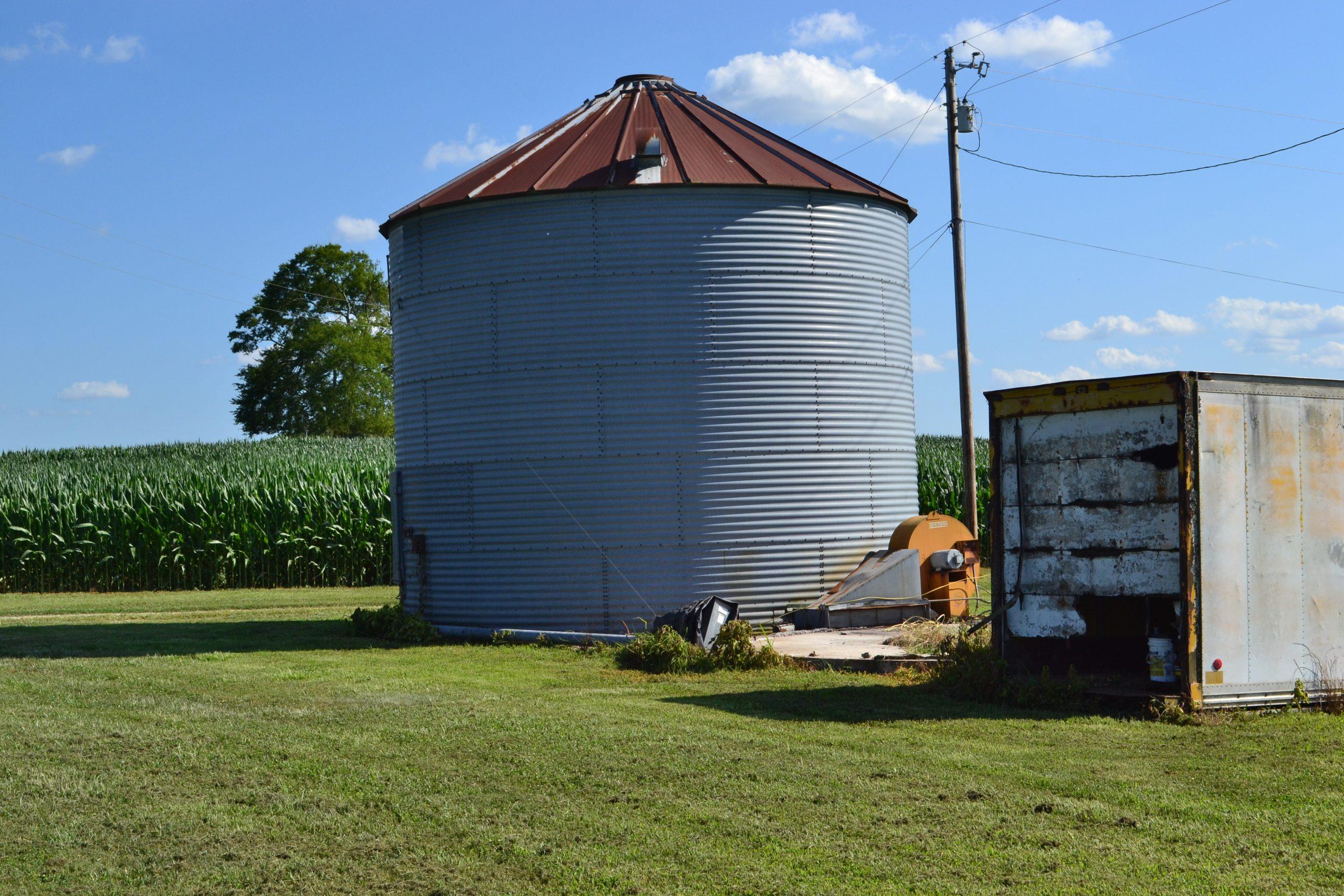grain silo in a field