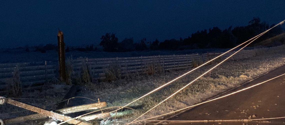 Electrical pole down during an ice storm