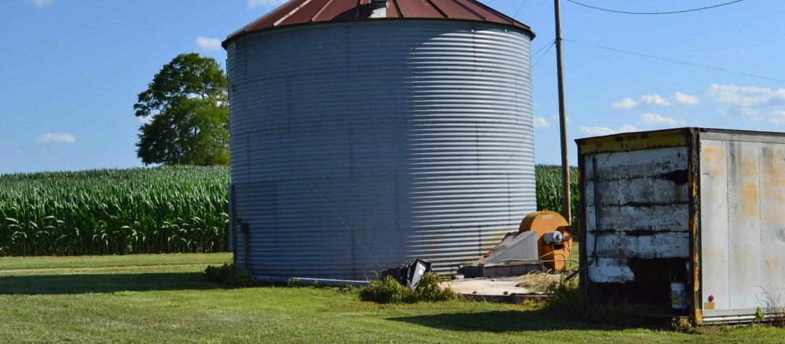 grain silo in a field